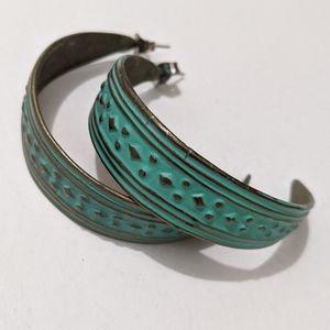 80's Vintage Brass Half Moon Earrings